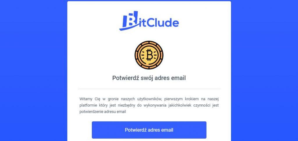 Giełda kryptowalut BitClude potwierdzenie rejestracji
