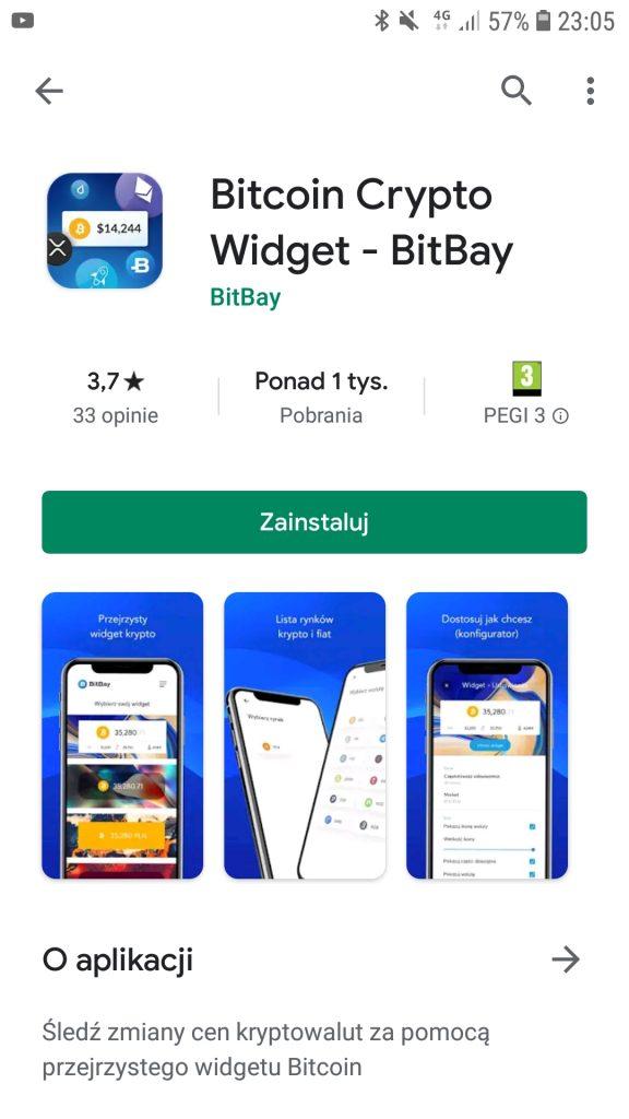 Bitcoin Crypto Widget do aplikacji BitBay