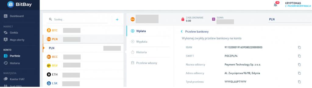 Bitbay jak wpłacić pieniądze - formularz