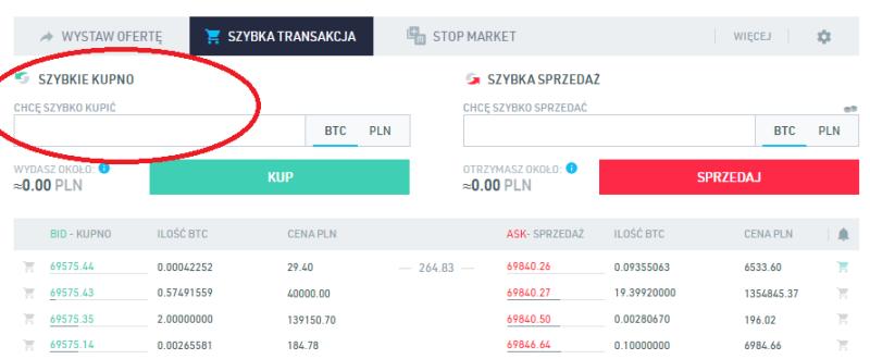 Giełda BitBay poradnik Szybka Transakcja zakupu bitcoina