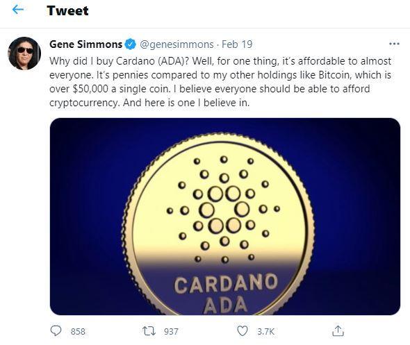 Twitter - dlaczego lider zespołu Kiss inwestuje w kryptowalutę Cardano